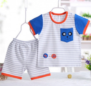 0-3 years old baby short sleeve suit, carton printed two pieces suit